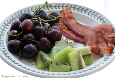 Breakfast of Cherry, Kiwi and Bacon
