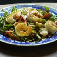 Salad with Creamy Curry-Lime Dressing and Seared Shrimp Recipe