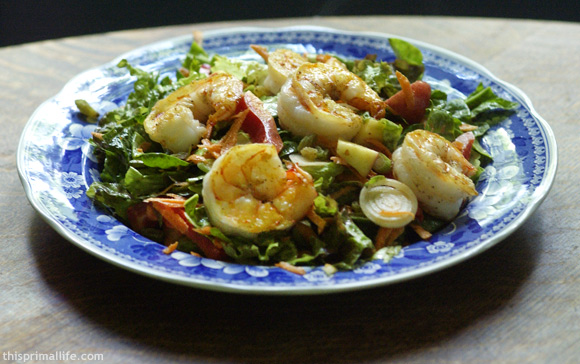 Spring Salad with Creamy Curry-Lime Dressing and Seared Shrimp