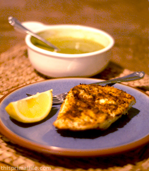 Grilled halibut with asparagus soup
