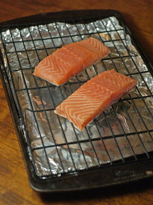 salmon on rack